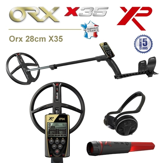 Detecteur de metaux XP Orx avec grand disque 28 cm X35, pro-pointer XP MI6 et casque sans fil WSA