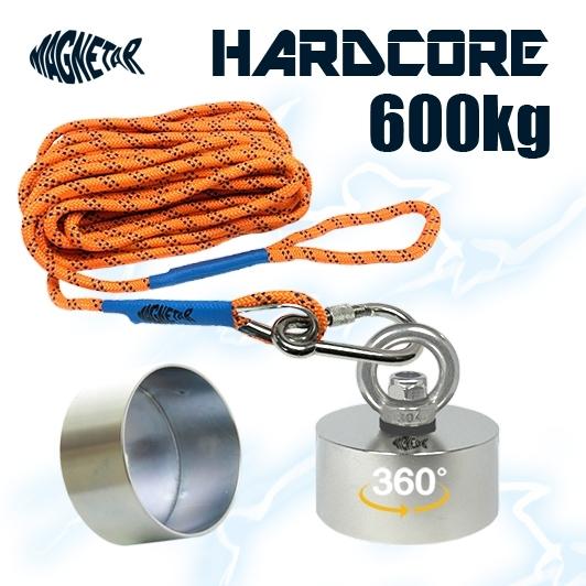 Aimant 360 degrés Hardcore 600kg Magnetar avec corde solide de 20 mètres et coque de protection