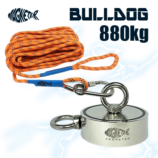Acheter un aimant pas cher Bulldog 800kg Magnetar avec corde de 20 mètres au magasin Mr. Detecteur en Normandie