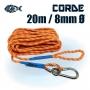 Corde solide de 20 mètres de 8mm de diamètre pour pêche à l'aimant puissant Bulldog Magnetar
