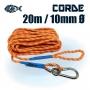Corde solide, incassable et résistante de 20 mètres et de 10mm de diamètre pour pêche à l'aimant Magnetar