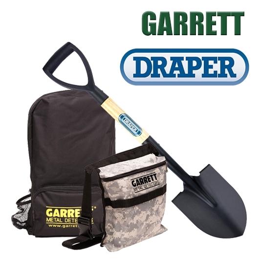 Pack Spécial Détection avec sac à dos et sacoche Garrett et pelle Draper