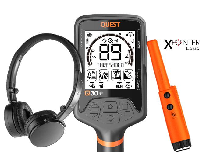 Detecteur de metaux Quest Q30+ et casque sans fil, avec XPointer